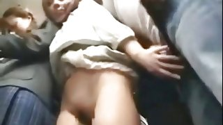 cute teacher and student both fucked by geek on bus