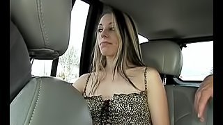 Palpitating cowgirl with long hair gives a cock a blowjob in a car then takes it up her shaved pussy hardcore