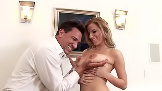 Ravishing wife welcomes her hubby home with a hard fucking