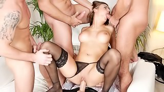 Young sweetie brunette and gang of big poles