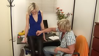 Adorable blonde chick gladly impales her fanny on the schlong