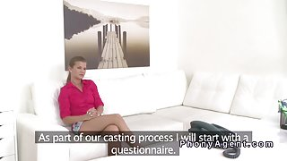 Fake agent records casting with blonde