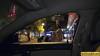 Big tits ebony Julie hooked up and fucked in public at night