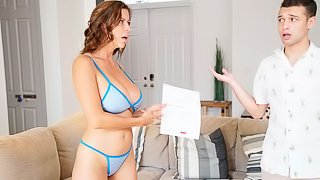 Beautiful busty MILF Alexis Fawx likes his massive young dick