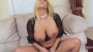 Blonde MILF is tit fucked for a big cumshot on her boobs